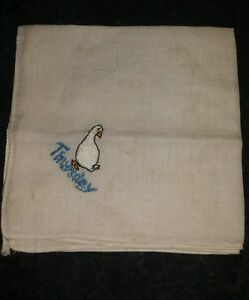 Vintage Embroidered Hankerchief Goose Thursday 1960s Child S Hanker Chief White