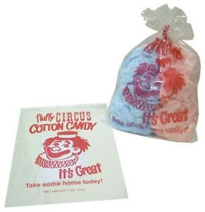 Plastic Cotton Candy Bags 1 000 Ct Printed Classic Sturdy Concession Supplies