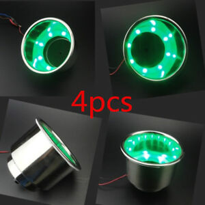 4pcs 8led Green Cup Drink Holder Marine Boat Truck Camper Solid Bright Perfect
