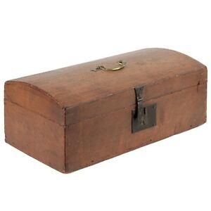 19th Century American Dome Top Dovetailed Antique Document Box Chest