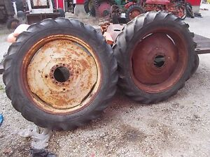 12 4 X 38 Tires 95 Massey Harris John Deere Tractor 9 Bolt Press Steel Rims