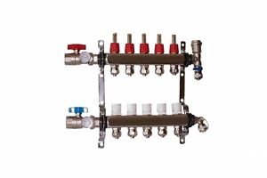 5 Loop Port Stainless Steel Pex Manifold Radiant Heating