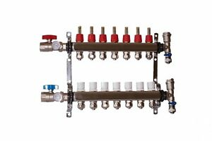 7 Loop Port Stainless Steel Pex Manifold Radiant Heating