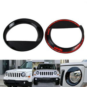Angry Bird Style Front Headlight Lamp Cover Black For Jeep Patriot 2011 2016 New