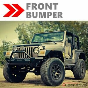 Textured 1987 2006 Jeep Wrangler Yj Tj Black Front Bumper W Winch Plate