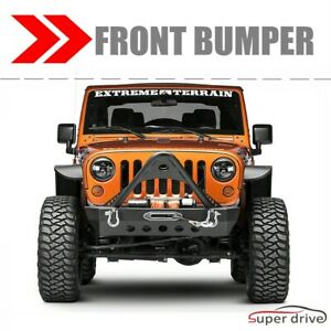 Black Textured Front Bumper Fit 2007 2019 Jeep Wrangler Jk Jl With Winch Plate