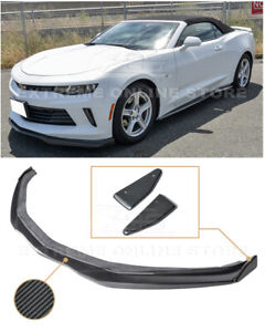 Eos T6 Style Carbon Fiber Front Lower Lip Splitter End Caps For 16 Up Camaro Rs