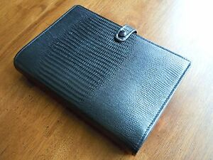 New Vintage Filofax Tejus Calf Leather Personal Organizer Black Rare Htf