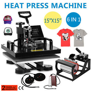15 x15 t shirt Heat Press Transfer 6in1 Combo Printing Machine Mug Plate On Sale