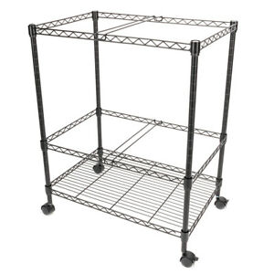 600x400xh700mm 2 tier Metal Rolling File Cart Black