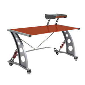Pitstop Red Gt Spoiler Glass Automotive Gaming Car Office Desk Workstation