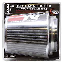 K N Universal Air Cone Intake Filter Chrome Round Tapered White Fits 3 4