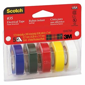 Scotchr 10457ds Electrical Tape 1 2 X 240 inch 5 pack 1 Of Each Color Blue
