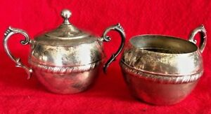 Silver Plated Silver Plate Cream And Sugar Matching 2 Piece Set