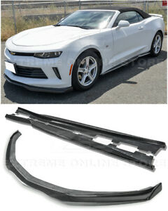 Eos T6 Style Carbon Fiber Front Lip End Caps W Side Skirts For 16 18 Camaro Rs
