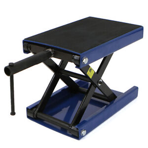 1100lb Wide Deck Motorcycle Center Scissor Lift Jack Hoist Stand Bikes Atv Blue