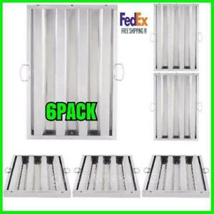 6 Pack 25 X 16 X 2 Stainless Steel Commercial Kitchen Exhaust Hood Filter
