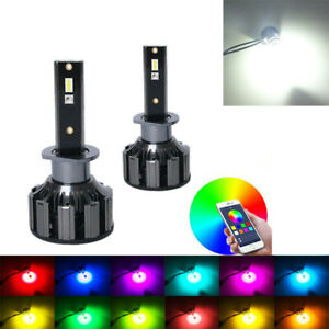 2pcs H1 72w 8000lm Car Auto Led Headlight Kit Rgb Driving Fog Bulbs App Control