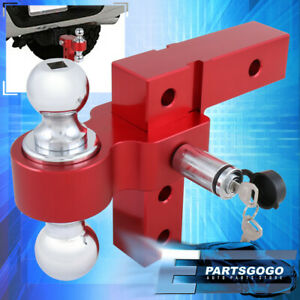 Dual Ball Mount 2 Red Hit Adjustable Aluminum Raise drop Trail Tow Hook