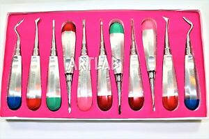 Set Of 11 Pc German Dental Stainless Elevator Mix Orthodontic Luxation Tools