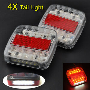 4pcs Trailer Light Red amber Led Stop turn tail Truck Waterproof Marine Sealed