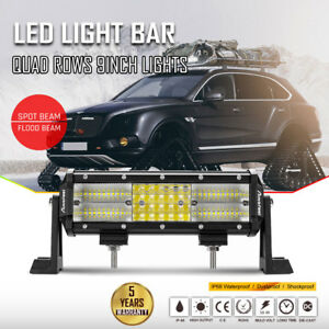 9inch Led Light Bar Quad Rows Off Road Driving Combo Spot Flood Work Suv Atv 10