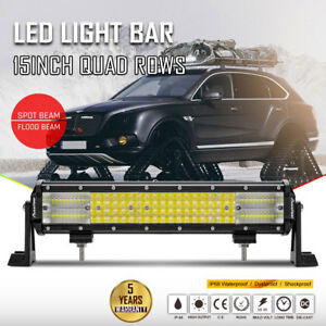 15inch Led Light Bar Quad Rows Off Road Driving Combo Spot Flood Work Suv Atv 20