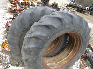 18 4 X 38 Goodyear Tires And Rims Double Bevel Tractor Pair Case Ih Allis Ag Jd