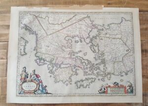 Antique Colored Rare Map Greece Vicinity Circa 1648 By Jan Jansson