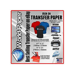 Heat Transfer Paper 11x17 Blue Line For Dark T Shirt Iron On 10 Sheets