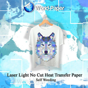 Heat Transfer Paper Laser Iron on Free Style Self Weed Light Fabric 50 Sheets A4