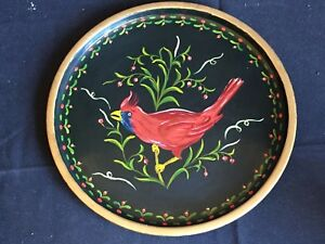 Antique Vintage Hand Painted Tole Tray With Cardinal C 1973