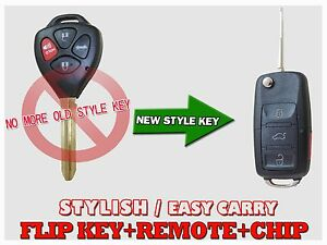 New Flip Uncut For Toyota Camry Chip Key Remote 4 Button Entry Fob Control
