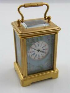 Hand Painted Porcelain Brass Carriage Clock