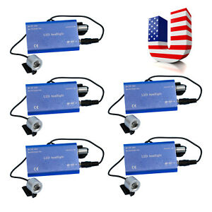 5 Sets 5w Surgical Led Head Light Lamp Battery W clip For Loupes Blue Usa Stock