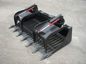 Kubota Skid Steer Attachment 72 Rock Bucket Grapple With Teeth Free Shipping