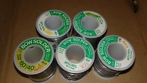 Lot Of 5 Bow Solder Rosin Core Solder 60 Tin 40 Lead New Old Stock