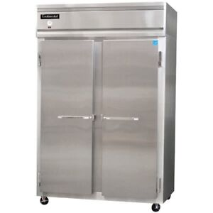 Continental Two 2 Door Stnls Steel Heavy Duty Commercial Reach In Freezer 2fs