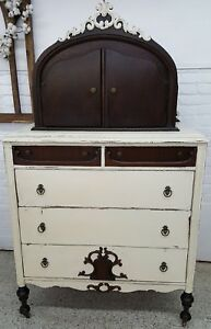 Antique Depression Era Dresser With Ladies Glove Hat Box Cabinet Unique Piece