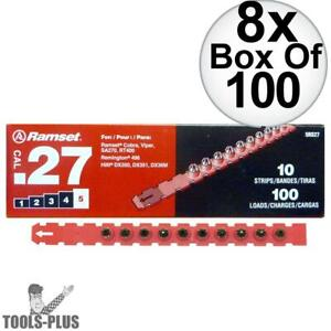 Ramset 5rs27 Box Of 100 5 red 27 Cal Strip Loads 8x New