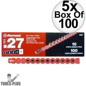 Ramset 5rs27 Box Of 100 100pk 5 red 27 Cal Strip Loads 5x New