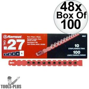 Ramset 5rs27 48x Box Of 100 5 red 27 Cal Strip Loads New