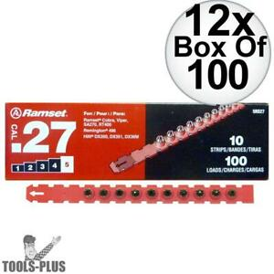 Ramset 5rs27 Box Of 100 5 red 27 Cal Strip Loads 12x New
