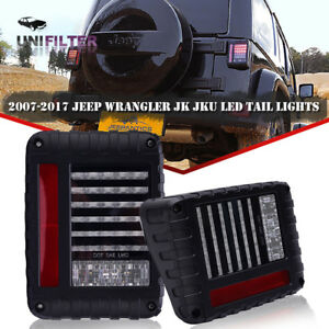 Pair 07 18 Jeep Wrangler Jk Led Clear Tail Lights Rear Brake Reverse Turn Signal