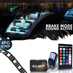 4pc Led Boat Interior Lighting Strip Kit 18 color Glow Neon Waterproof Flexible