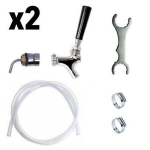 X2 Stainless Steel Draft Beer Tower Rebuild Kit Faucet Shank Tubing Hardware