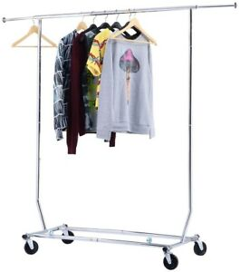 New Collapsible Folded Home Heavy Duty Commercial Clothing Garment Rolling Rack