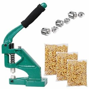 Yescom 3 Die 0 2 4 Hand Press Grommet Machine And 900 Pcs Golden Gromme