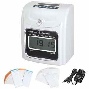 Yescom Employee Attendance Punch Time Clock Payroll Recorder Lcd Display Wit