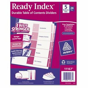 Avery Ready Index Customizable Table Of Contents Asst Dividers 5 tab Ltr